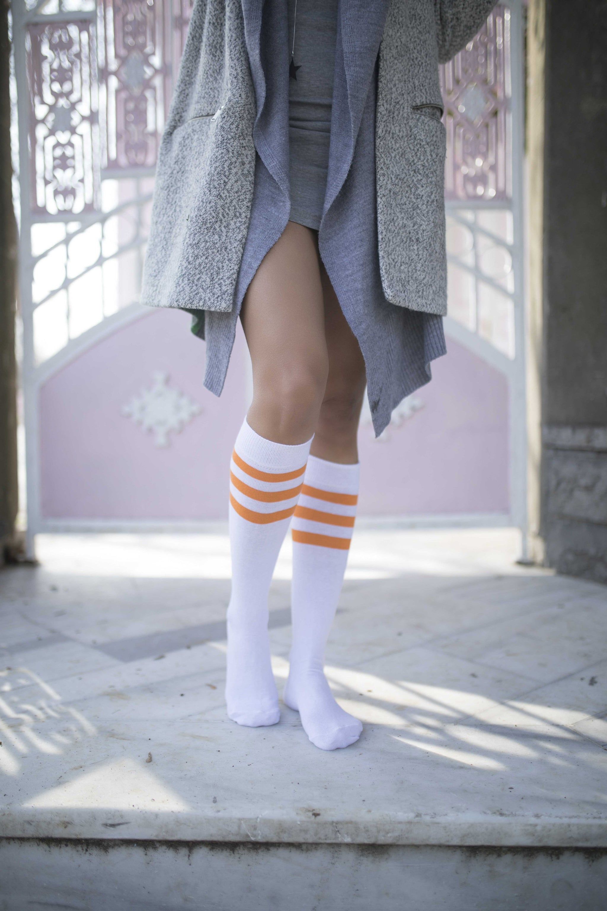 Women's Solid Orange Stripe Knee High Socks