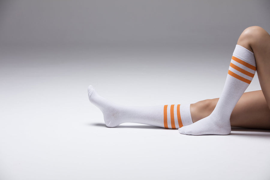 Solid Orange Stripe Socks