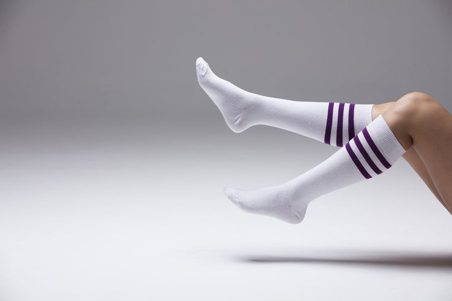 Solid Purple Stripe Socks
