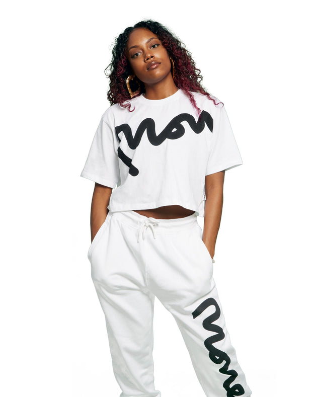 WMNS MONEY BIG SIG CROPPED TEE WHITE