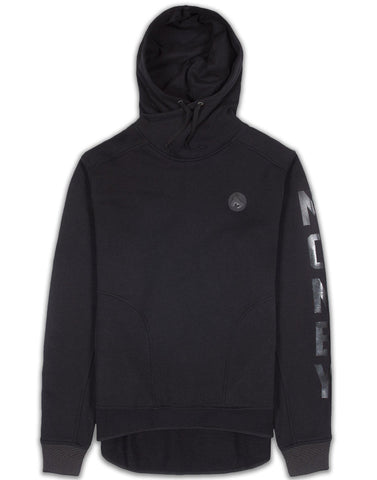 MONEY CLOTHING - DROPPED BACK HOODY - JET BLACK