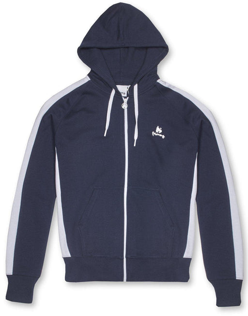 money clothing classic retro zip hood in navy