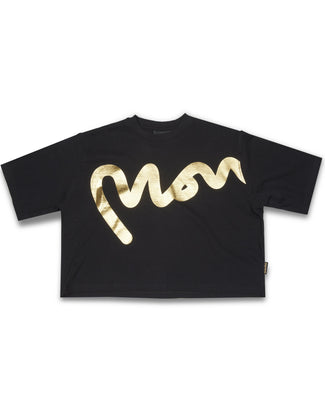 WMNS MONEY GOLD BIG SIG CROPPED TEE BLACK