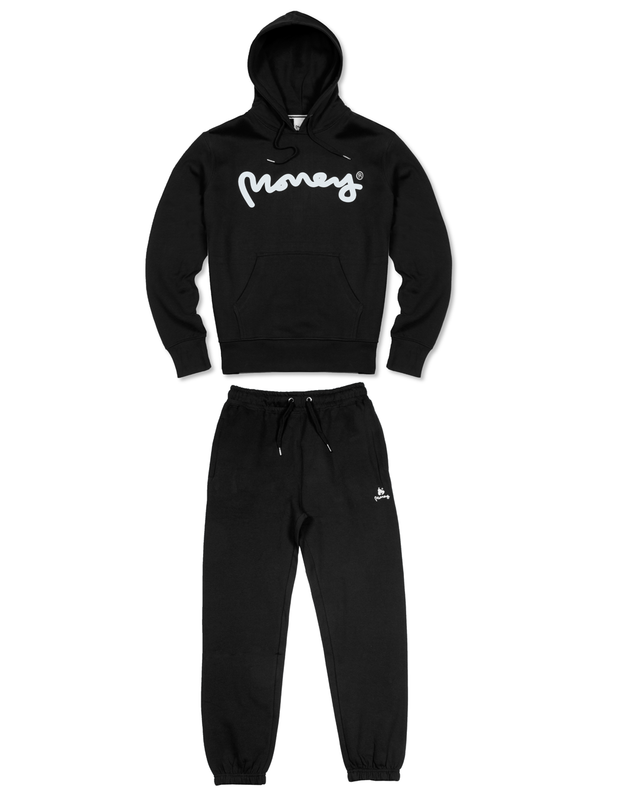 GREY MELANGE MONEY SIG APE HOOD TRACKSUIT
