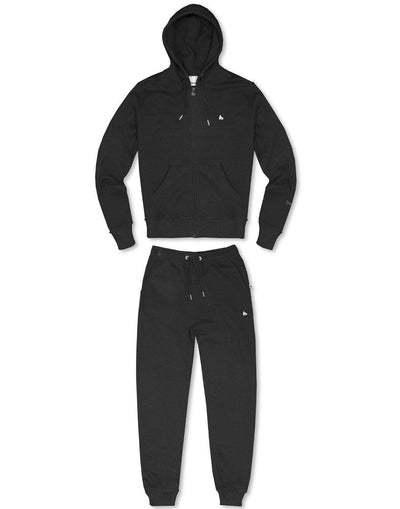 BLACK ZAMAC ZIP HOODED TRACKSUIT