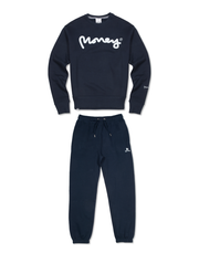 GREY MELANGE MONEY SIG APE CREW TRACKSUIT