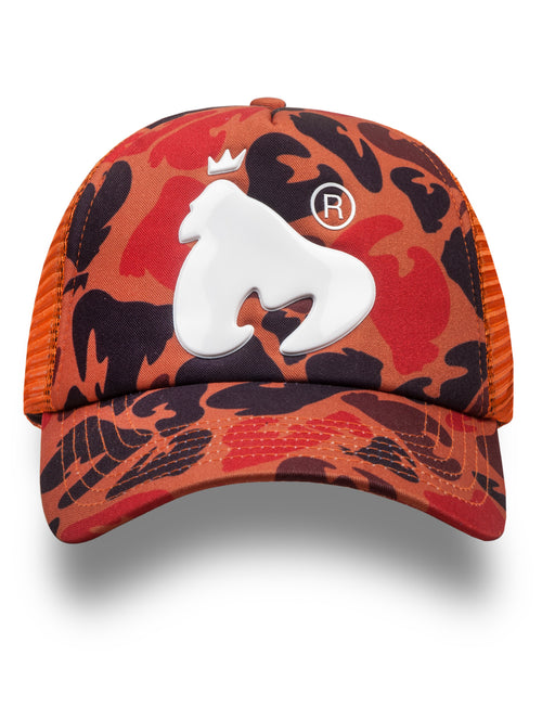 Orange Camo High Build Snap Back Cap