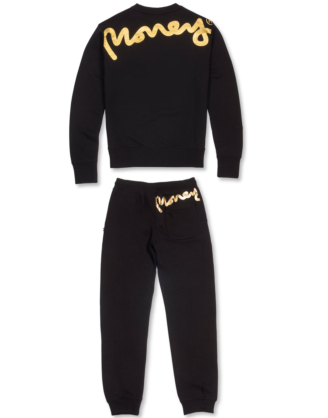 BLACK SUPER FAT PRINTED CREW TRACKSUIT