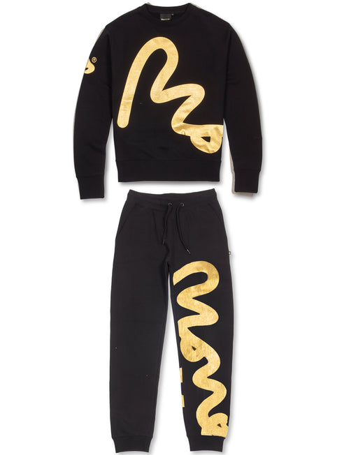 BLACK & GOLD BIG SIG CAMO CREW TRACKSUIT