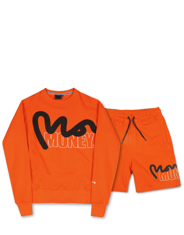 STENCIL BLOCK CREW/SHORT TRACKSUIT ORANGE