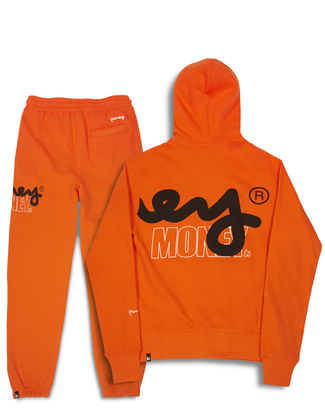 STENCIL BLOCK HOOD TRACKSUIT ORANGE