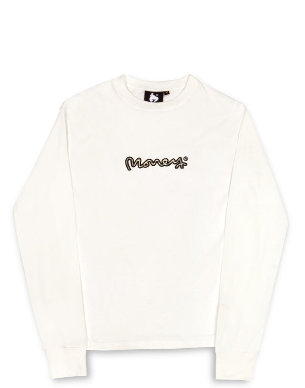 REAL CASH L/S TEE OFF WHITE