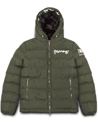 MENS EMERTON HOODED PUFFER JACKET OLIVE