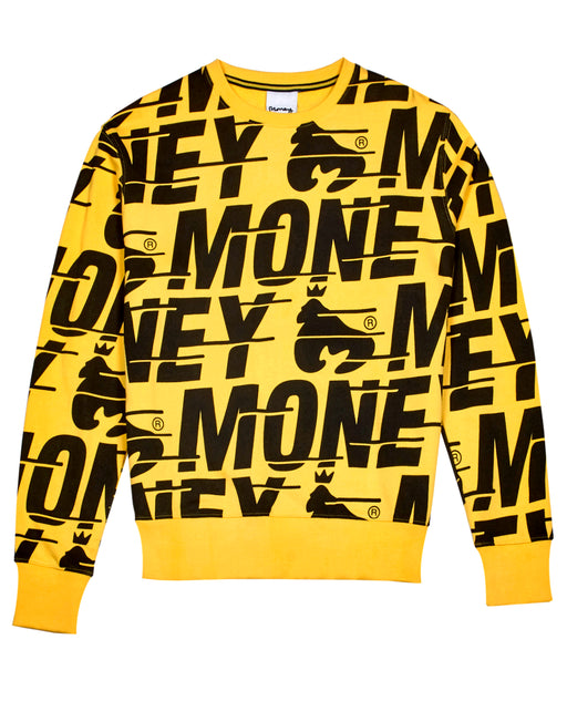Money Clothing signature logo print sweater in yellow