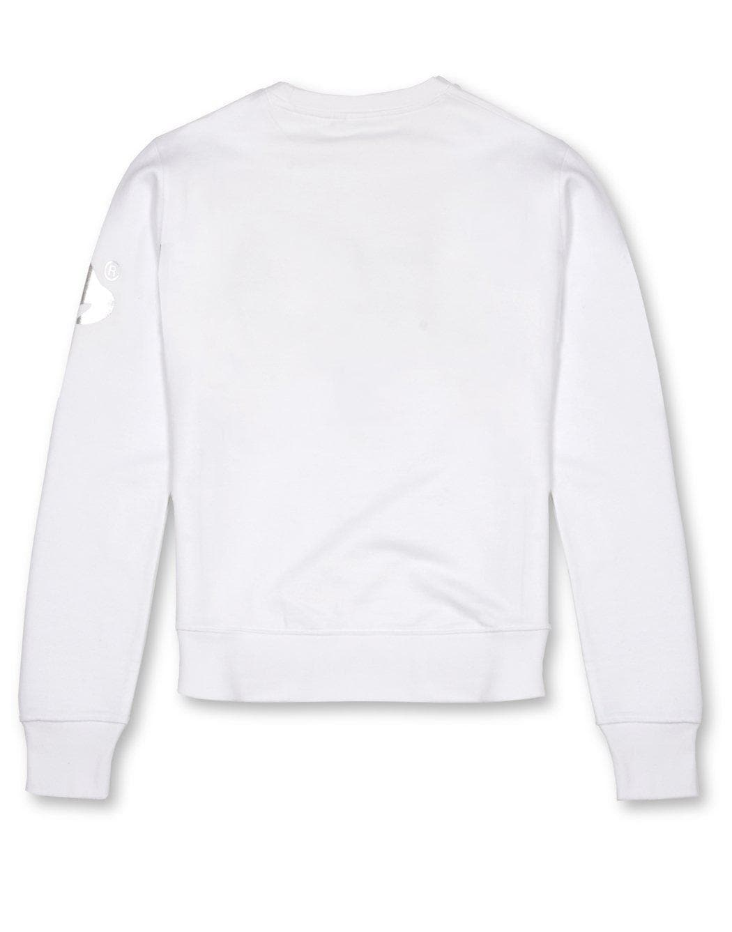 Money Clothing signature logo print crew neck sweater in white