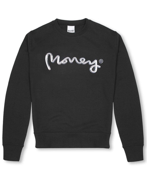 Money Clothing crew neck sweater with chrome artwork details in black