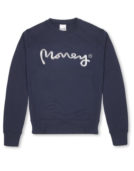 Money Clothing crew neck sweater with chrome artwork details in navy