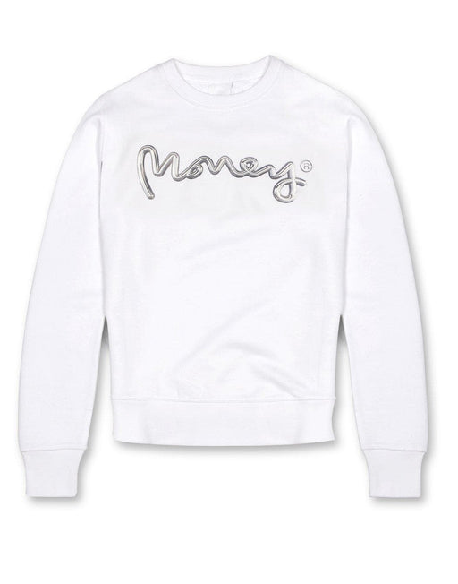 Money Clothing crew neck sweater with chrome artwork details in white