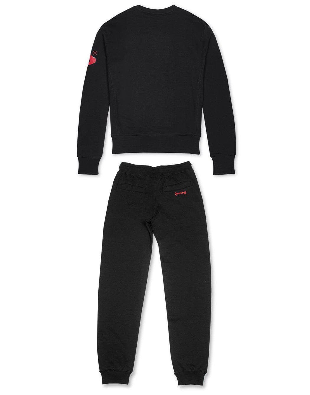 money clothing signature money logo black crew neck tracksuit