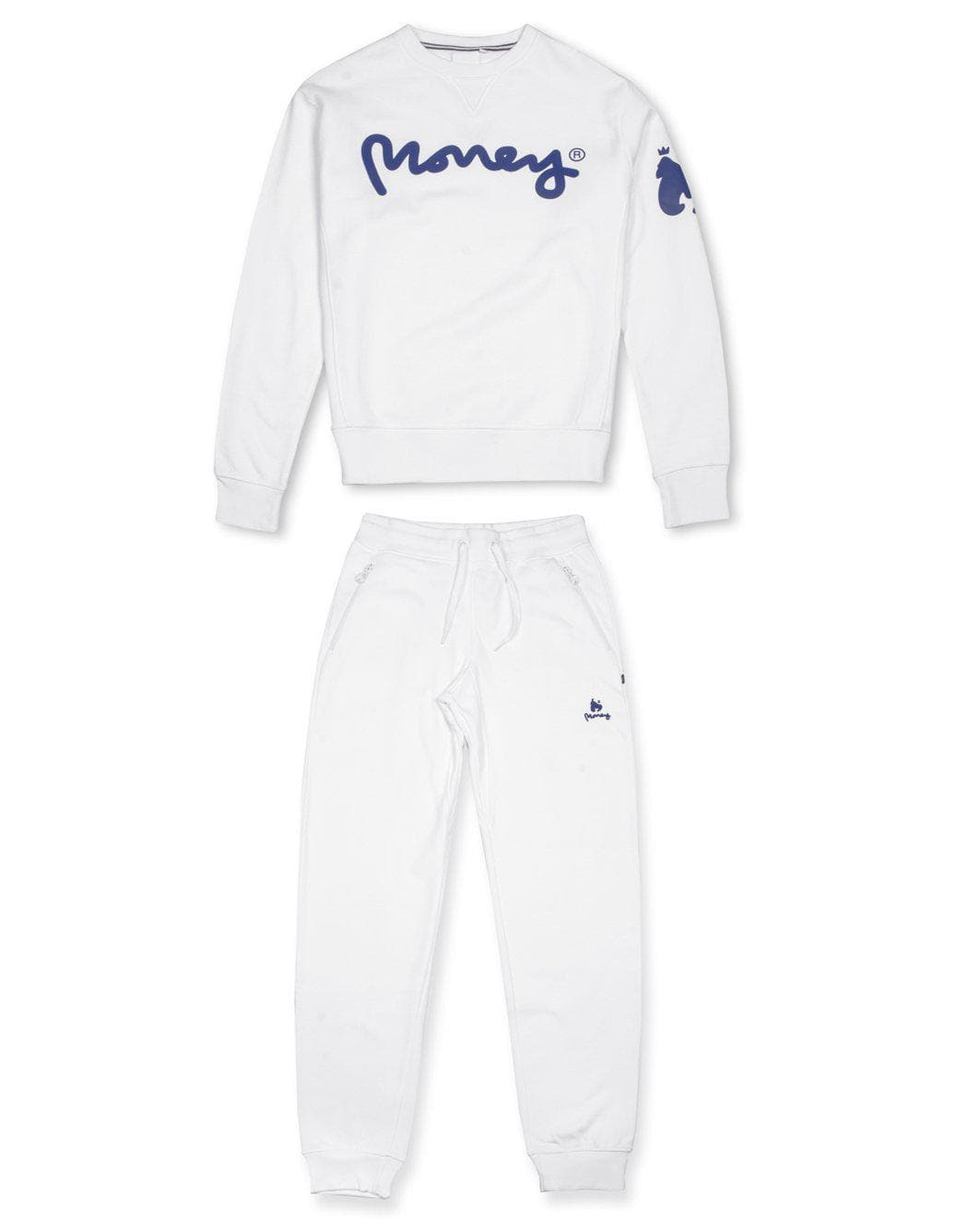 money clothing signature money logo white crew neck tracksuit
