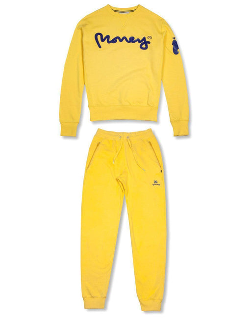 money clothing signature money logo yellow crew neck tracksuit
