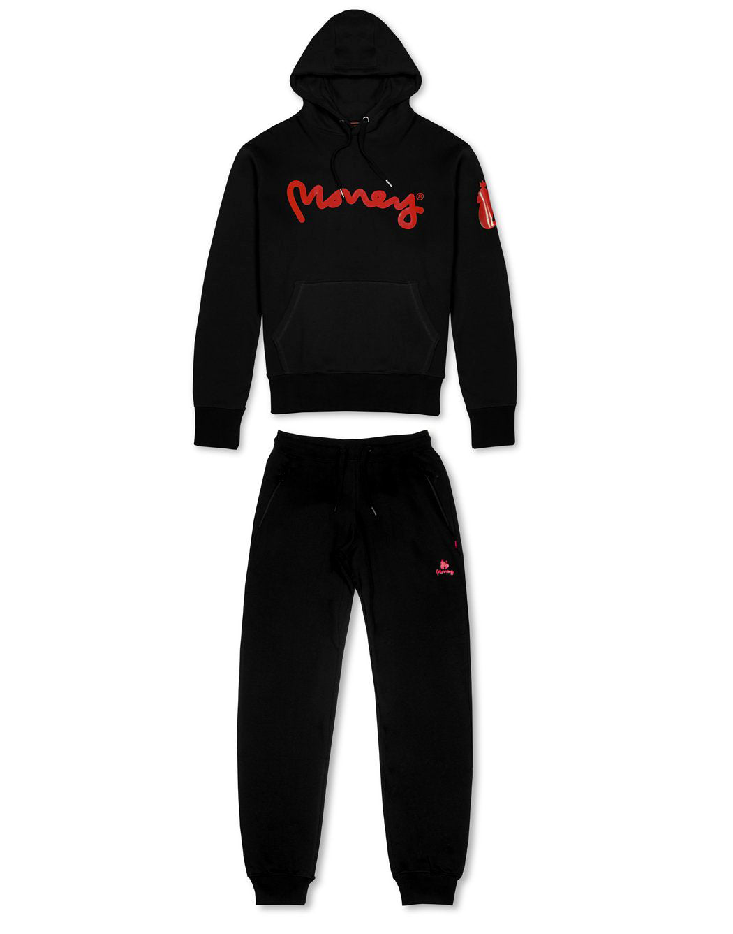 Money Clothing signature ape hood tracksuit in black