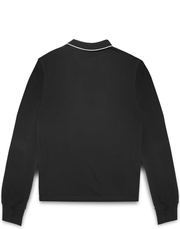 CLEAR PATCH LOGO L/S POLO BLACK