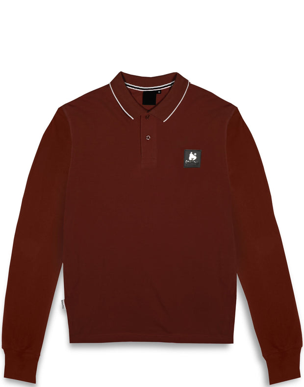 CLEAR PATCH LOGO L/S POLO RED