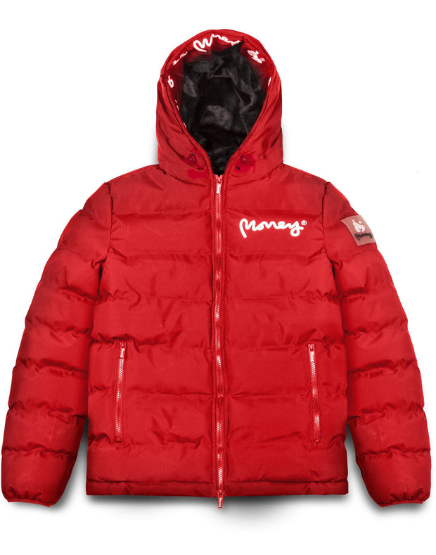 MENS EMERTON HOODED PUFFER JACKET RED