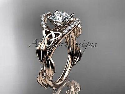 14k rose gold diamond celtic, leaf and vine, Moissanite, engagement ring CT7326