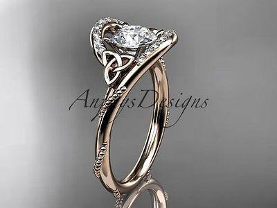 14k rose gold diamond celtic trinity knot wedding ring, engagement ring CT7166