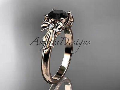 14k rose gold diamond unique engagement ring Black Diamond  ADER154