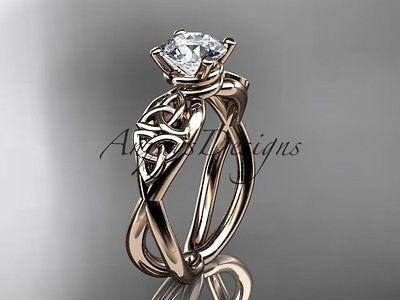 14k rose gold celtic trinity knot engagement ring, wedding ring CT770