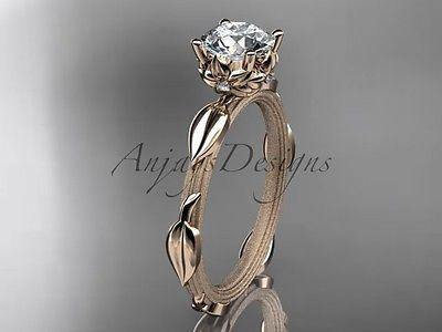 "14k rose gold diamond wedding,engagement ring ""Forever One"" Moissanite ADLR290"