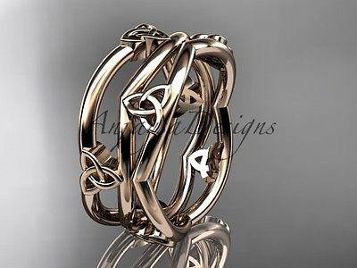 14kt rose gold celtic trinity knot wedding band, engagement ring CT7350G - Vinsiena Designs