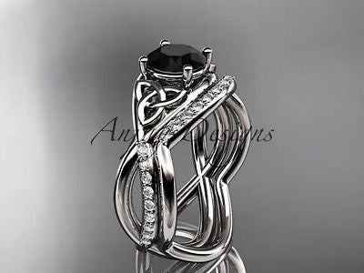 Platinum celtic trinity knot  wedding, engagement ring,Black Diamond CT790S