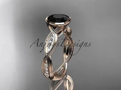 14k rose gold diamond wedding ring, engagement ring with Black Diamond  ADLR24