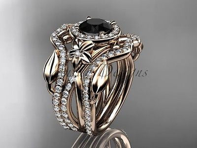 14k rose gold diamond leaf, vine wedding set, double band Black Diamond ADLR89
