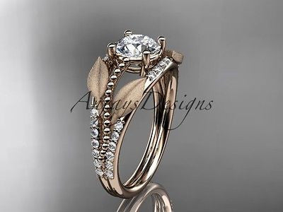 14k rose gold diamond leaf and vine wedding ring, engagement ring ADLR75