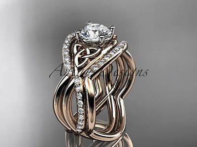 14kt rose gold celtic trinity knot wedding set,double band One Moissanit CT790S