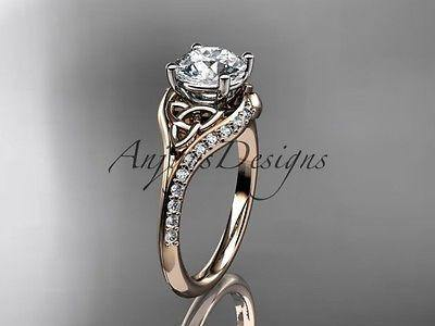14k rose gold diamond celtic trinity knot wedding ring, engagement ring CT7125