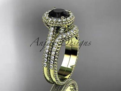 14k yellow gold diamond wedding set, engagement ring  Black Diamond ADLR101S - Vinsiena Designs