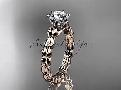 14k rose gold diamond vine and leaf wedding ring, engagement ring ADLR35 - Vinsiena Designs