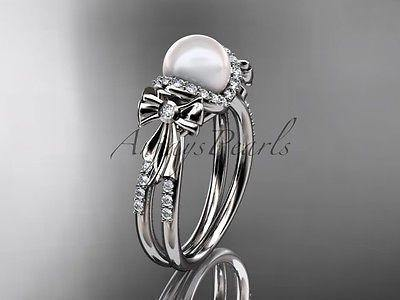 14 white gold  diamond pearl wedding ring, engagement ring AP155