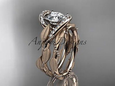 14k rose gold diamond leaf and vine wedding ring, engagement set ADLR64S