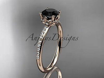 14k rose gold diamond  engagement ring with a Black Diamond ADLR92
