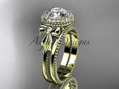 14k yellow gold diamond unique engagement set, wedding ring ADER157S - Vinsiena Designs