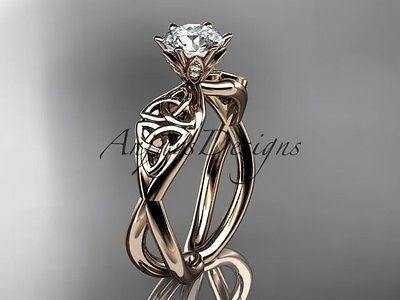 14k rose gold diamond celtic trinity knot wedding ring, engagement ring CT7221