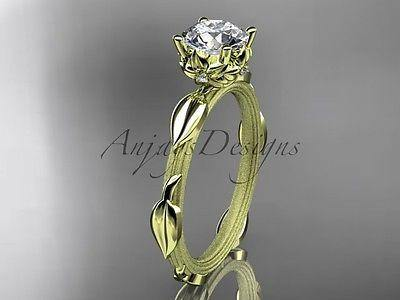 14k yellow gold diamond vine and leaf wedding ring, engagement ring ADLR290 - Vinsiena Designs