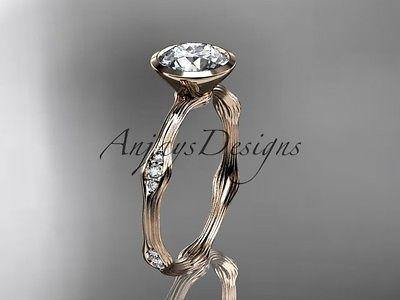 14k rose gold diamond vine wedding ring, engagement ring  ADLR21A